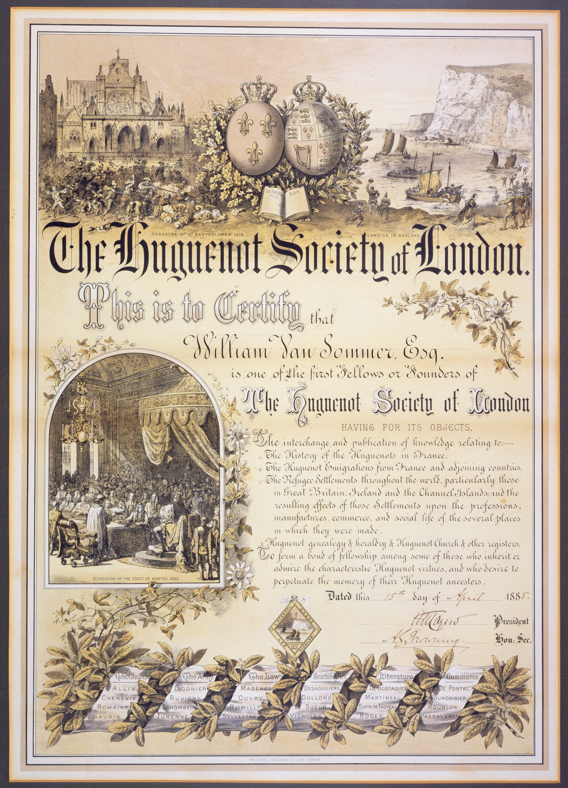 Certificate of the Huguenot Society