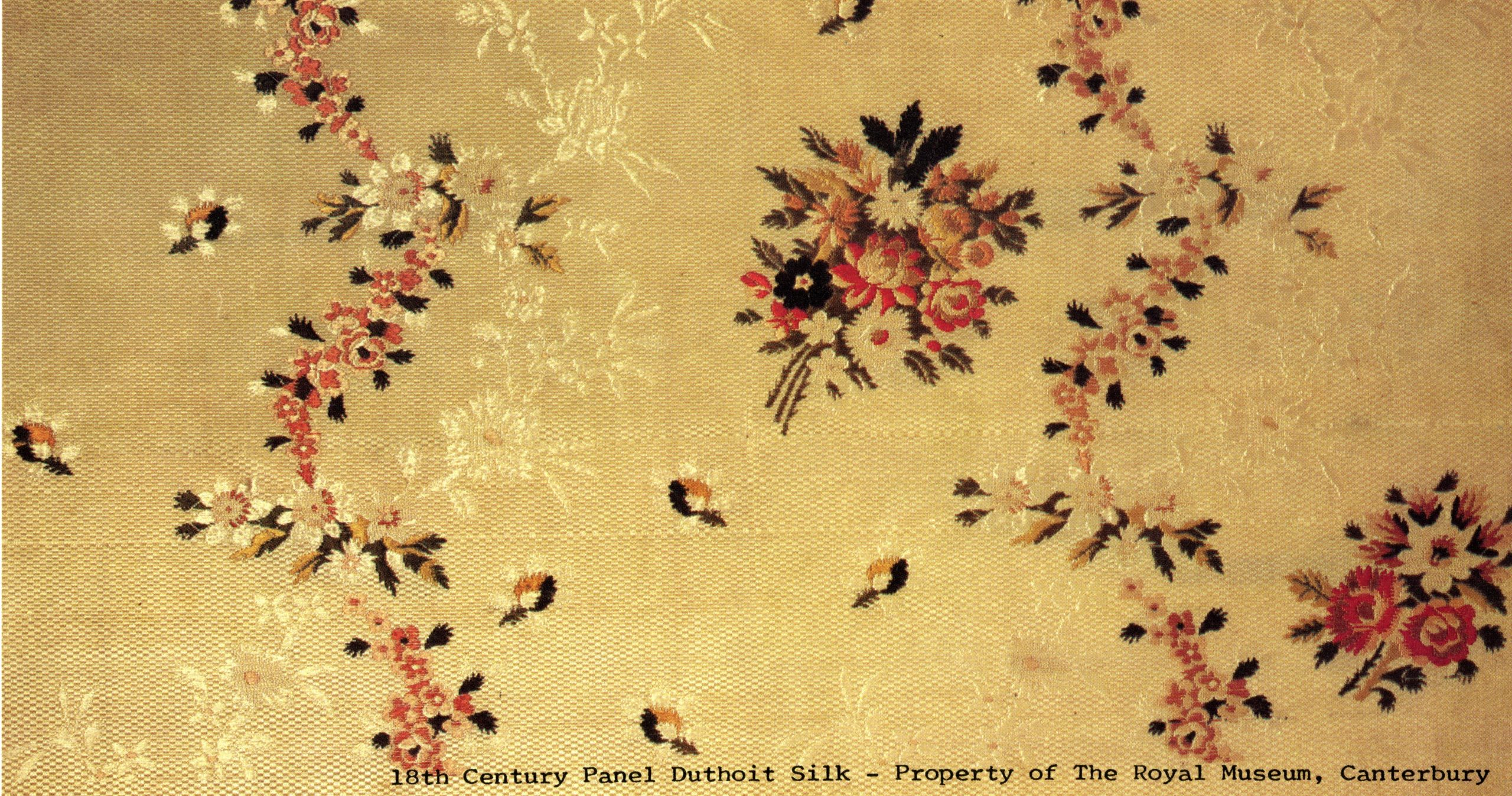 Fragment of silk woven by the Duthoit Family, image courtesy of Canterbury Museums